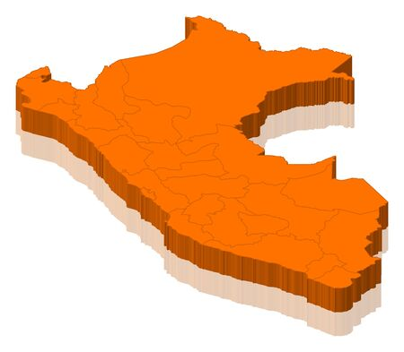 peru map: Political map of Peru with the several regions. Stock Photo
