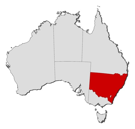 Political map of Australia with the several states where New South Wales is highlighted.
