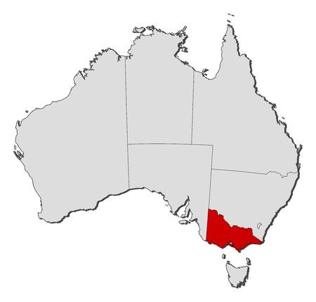 highlighted: Mappa politica di Australia con i diversi Stati in cui si evidenzia Victoria.