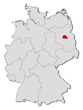 highlighted: Mappa politica della Germania con i diversi Stati in cui si evidenzia Berlino.