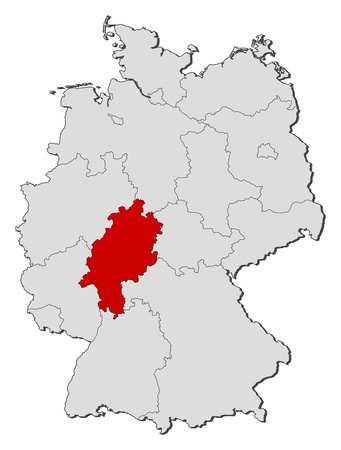 Political map of Germany with the several states where Hesse is highlighted.