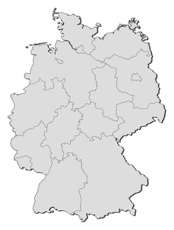 regions: Political map of Germany with the several states.