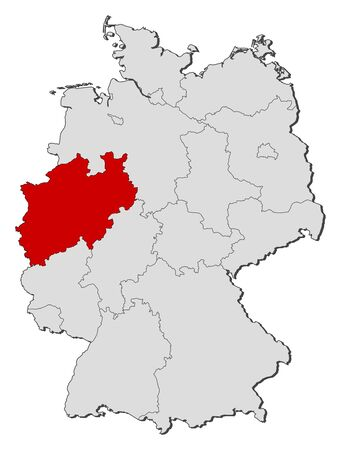 Political map of Germany with the several states where North Rhine-Westphalia is highlighted.