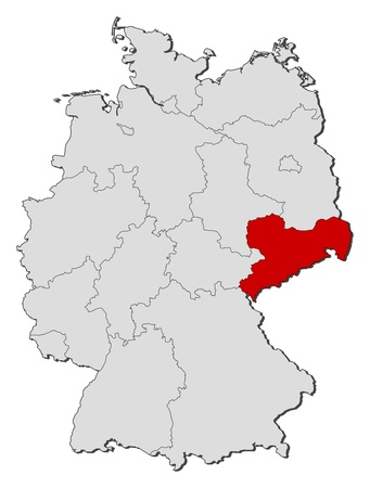 Political map of Germany with the several states where Saxony is highlighted.