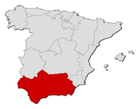 Political map of Spain with the several regions where Andalusia is highlighted. Vector