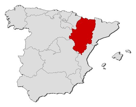 Political map of Spain with the several regions where Aragon is highlighted. Vector
