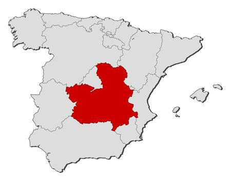 Political map of Spain with the several regions where Castile-La Mancha is highlighted.