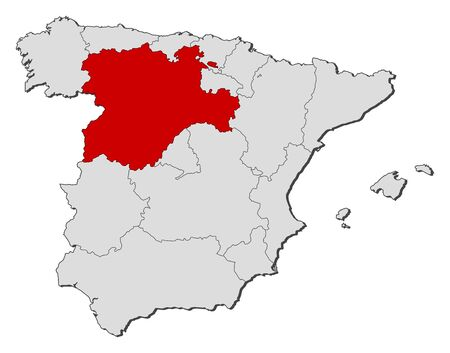 castilla: Political map of Spain with the several regions where Castile and León is highlighted. Illustration