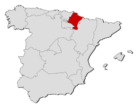 Political map of Spain with the several regions where Navarre is highlighted.