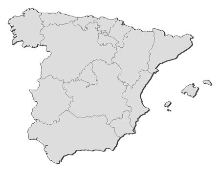 frontiers: Political map of Spain with the several regions.