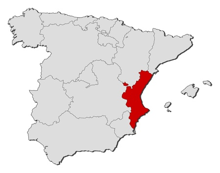 regions': Political map of Spain with the several regions where the Valencian Community is highlighted.