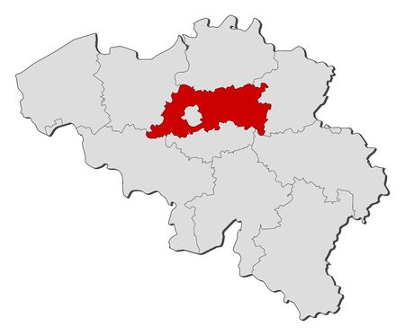 belgie: Political map of Belgium with the several states where Flemish Brabant is highlighted.