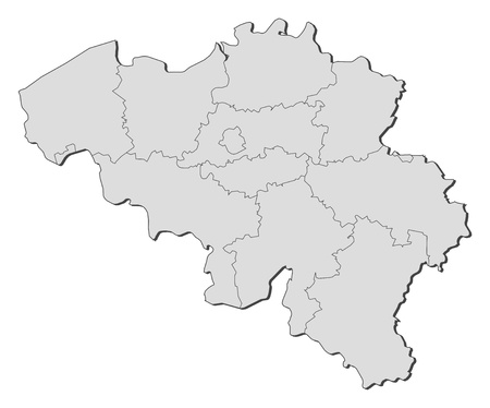 Political map of Belgium with the several states. Vector