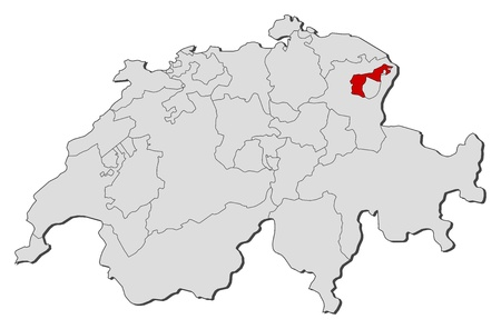 Political map of Swizerland with the several cantons where Appenzell Ausserrhoden is highlighted. Illustration