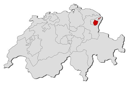 canton: Political map of Swizerland with the several cantons where Appenzell Innerrhoden is highlighted.