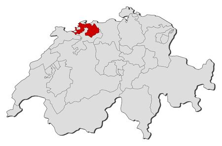 swizerland: Political map of Swizerland with the several cantons where Basel-Landschaft is highlighted.