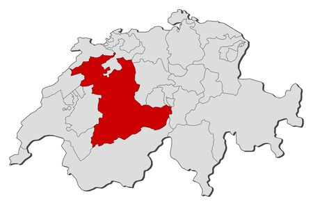 swizerland: Political map of Swizerland with the several cantons where Bern is highlighted.