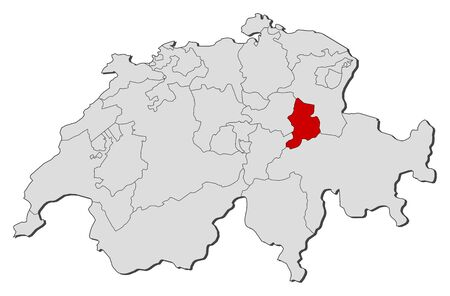 glarus: Political map of Swizerland with the several cantons where Glarus is highlighted.