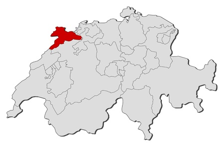canton: Political map of Swizerland with the several cantons where Jura is highlighted.