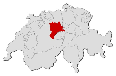 Political map of Swizerland with the several cantons where Lucerne is highlighted.