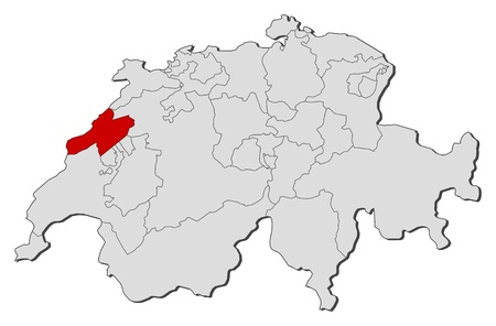 swizerland: Political map of Swizerland with the several cantons where Neuch�tel is highlighted.