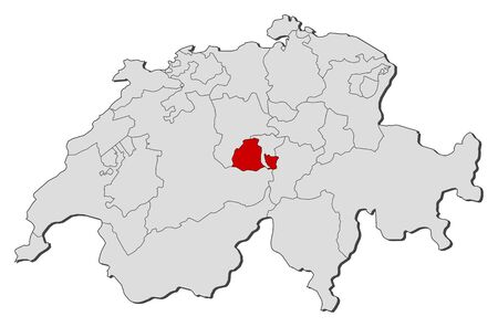 swizerland: Political map of Swizerland with the several cantons where Obwalden is highlighted.