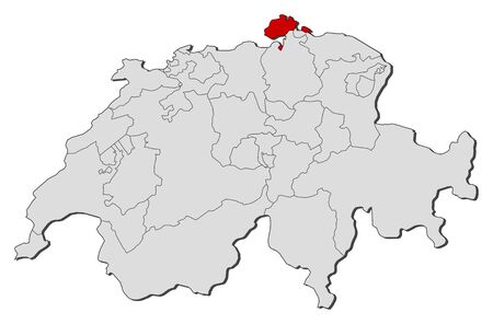 schweiz: Political map of Swizerland with the several cantons where Schaffhausen is highlighted. Illustration
