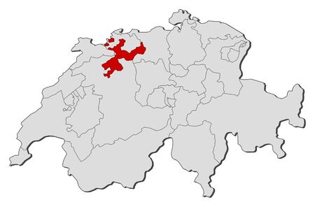 schweiz: Political map of Swizerland with the several cantons where Soleure is highlighted. Illustration