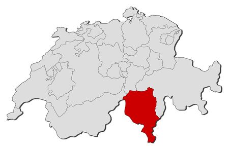 schweiz: Political map of Swizerland with the several cantons where Ticino is highlighted.