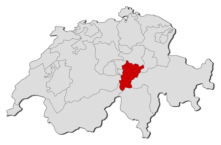cantons: Political map of Swizerland with the several cantons where Uri is highlighted. Illustration