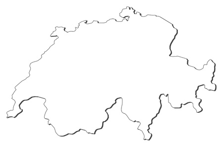 frontiers: Political map of Swizerland with the several cantons.