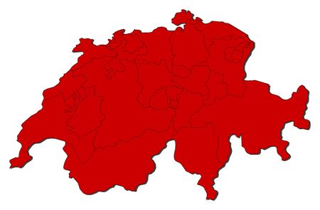 schweiz: Political map of Swizerland with the several cantons.