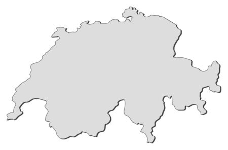 Political map of Swizerland with the several cantons.