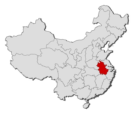 anhui: Political map of China with the several provinces where Anhui is highlighted.