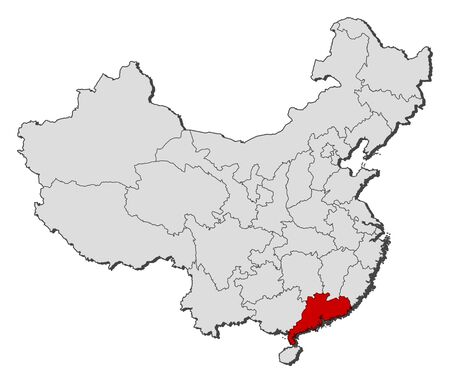 prc: Political map of China with the several provinces where Guangdong is highlighted. Illustration