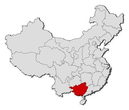 Political map of China with the several provinces where Guangxi is highlighted. Illustration