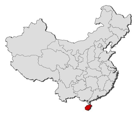 people's republic of china: Political map of China with the several provinces where Hainan is highlighted.