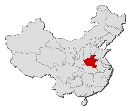 Political map of China with the several provinces where Henan is highlighted. Illustration