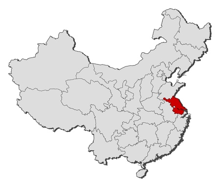 Political map of China with the several provinces where Jiangsu is highlighted. Illustration