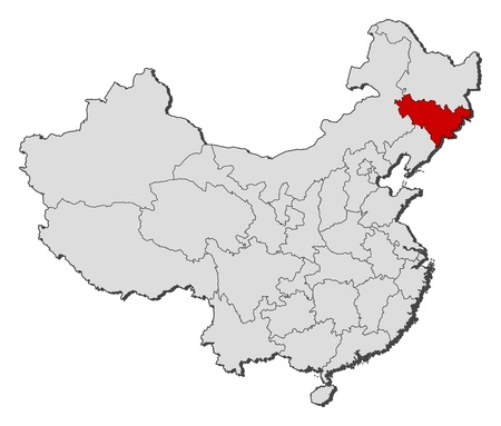 Political map of China with the several provinces where Jilin is highlighted.