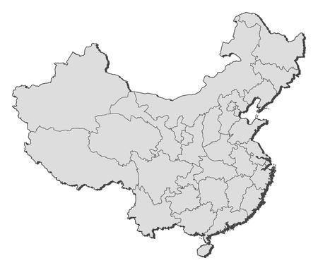 highlighted: Mappa politica della Cina con le diverse province in cui si evidenzia Macau.