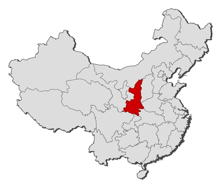Political map of China with the several provinces where Shaanxi is highlighted. Vector