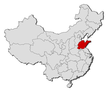 Political map of China with the several provinces where Shandong is highlighted. Vector