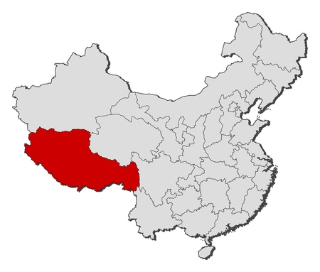 Political map of China with the several provinces where Tibet is highlighted. Illustration