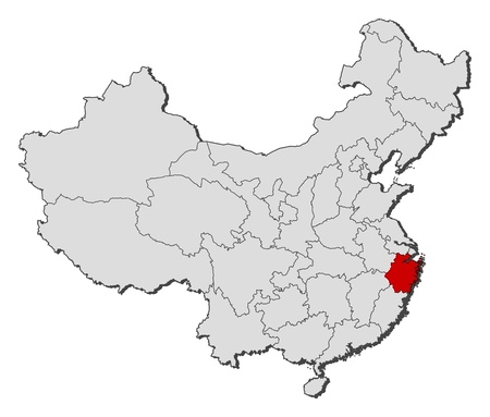 emphasize: Political map of China with the several provinces where Zhejiang is highlighted.