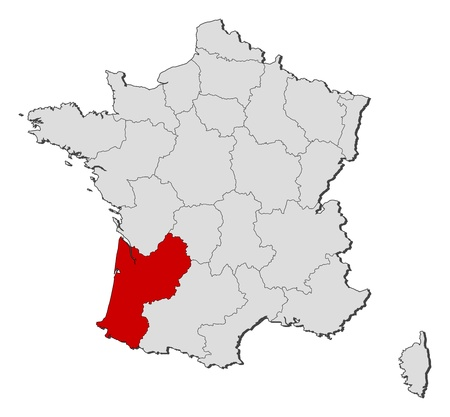 Political map of France with the several regions where Aquitaine is highlighted. Vector