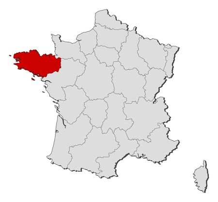 Political map of France with the several regions where Brittany is highlighted.