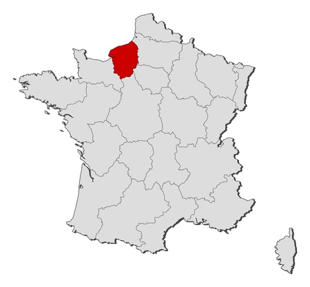 Political map of France with the several regions where Upper Normandy is highlighted.