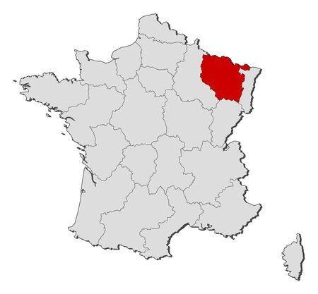 Political map of France with the several regions where Lorraine is highlighted. Illustration