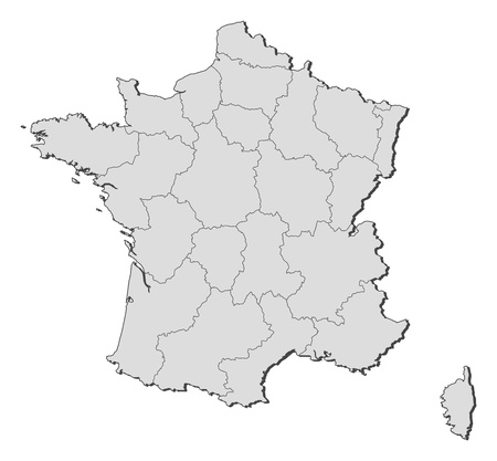 Mapa político de Francia con las diversas regiones. Ilustración de vector